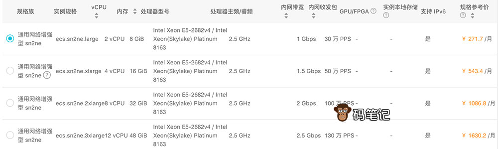 阿里云通用网络增强型sn2ne云服务器