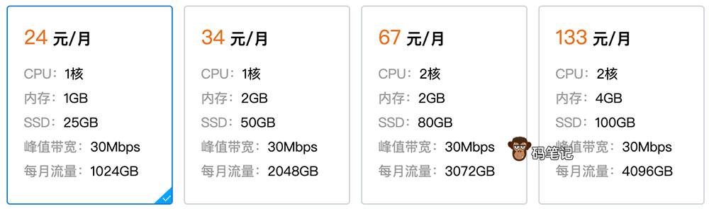 腾讯云轻量服务器香港24元